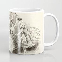 1845 Wood Engraving Print of Female Ballet Dancers Coffee Mug
