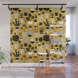 Retro Botanicals on a Mustard Yellow Background Wall Mural