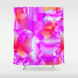 Abstract soap of cosmic transparent purple circles and pink bubbles on a languid background. Shower Curtain
