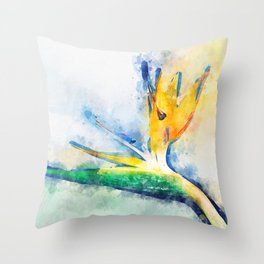 Bird Of Paradise Watercolor Art Throw Pillow