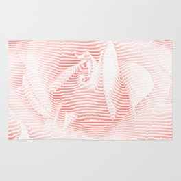 Floral coral - Romantic illusion of roses in seamless stripes Rug