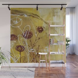 Yellow Tan Spring Abstract Flowers. Jodilynpaintings. Abstract Floral Wall Mural