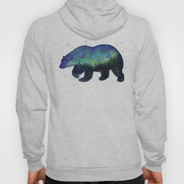 Polar Bear Silhouette with Northern Lights Galaxy Hoody