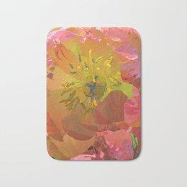 Coral Peony Flower Art #1 | Watercolor Floral Illustration Bath Mat