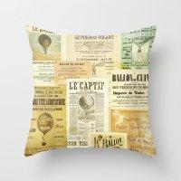 ballon Throw Pillows featuring Le Ballon by Ephemera's Vintage Garden
