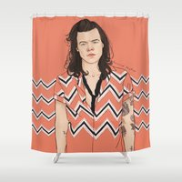 coconutwishes Shower Curtains featuring Harry Chevron  by Coconut Wishes