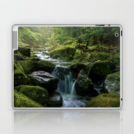 Flowing Creek, Green Mossy Rocks, Forest Nature Photography Laptop & iPad Skin