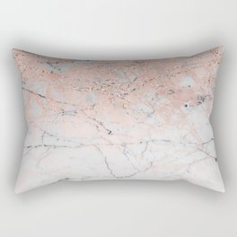 Rose Glitter Marble Rectangular Pillow