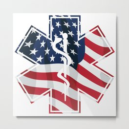 Patriotic Paramedic EMT EMS Star of Life Medical Service Symbol with USA Flag Overlay Metal Print