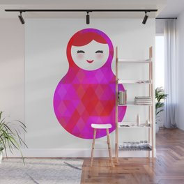 Russian doll matryoshka screw up one's eyes with bright rhombus on white background, pink colors Wall Mural