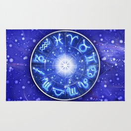 Zodiac Signs Blue Galaxy Circle Rug
