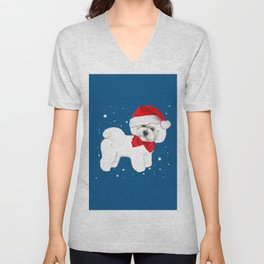 Bichon Frise red christmas holiday themed pattern print pet friendly dog breed gifts Unisex V-Neck