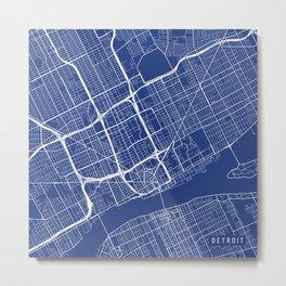 Detroit Map, USA - Blue Metal Print
