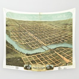 Bird's eye view of Kankakee, Illinois (1869) Wall Tapestry