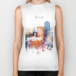 Watercolor Tucson watercolor skyline Biker Tank