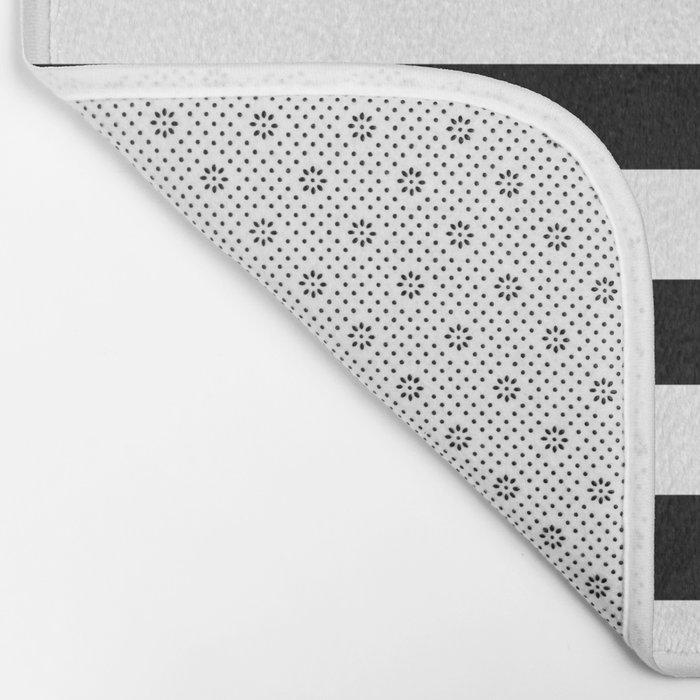 Midnight Black and White Stripes Bath Mat