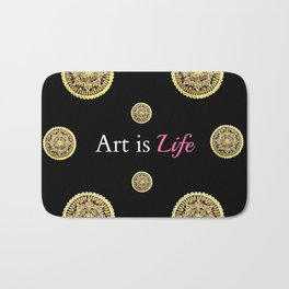 Gold and Black Art Is Life Mandala Repeated Graphic Design Bath Mat