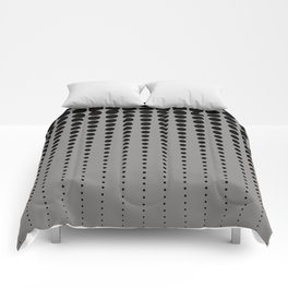 Reduced Black Polka Dots Pattern on Solid Pantone Pewter Background Comforters