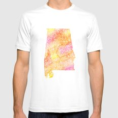 Typographic Alabama - Orange Watercolor map art White Mens Fitted Tee MEDIUM