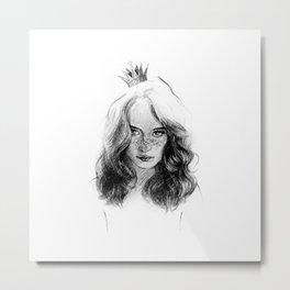a princess. girl with a crown. drawing. Metal Print