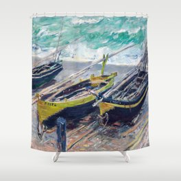Three Fishing Boats by Claude Monet Shower Curtain