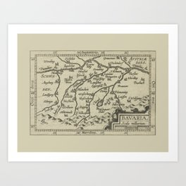 Vintage 17th-Century Renaissance Map of Bavaria Germany Art Print