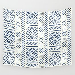 Line Mud Cloth // Ivory & Navy Wall Tapestry