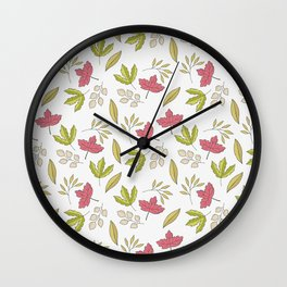 Pink green ivory hand painted autumn leaves pattern Wall Clock
