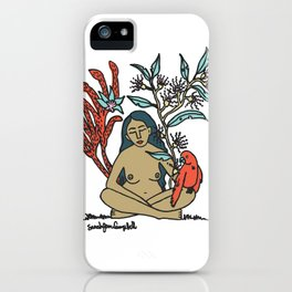 Naked woman with Parrot and Australian flowers iPhone Case