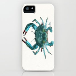 """Blue Crab"" by Amber Marine ~ Watercolor Painting, Illustration, (Copyright 2013) iPhone Case"