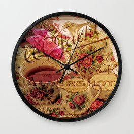 Teacup and Roses 3 Wall Clock
