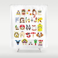 super mario Shower Curtains featuring Super Mario Alphabet by Mike Boon