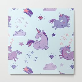 Purple Unicorns - Magical Unicorns in Purple and Blue Metal Print