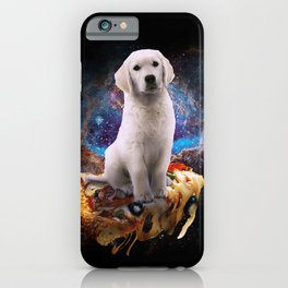 Galaxy Space Golden Retriever Dog On Pizza iPhone Case
