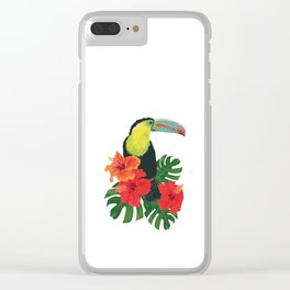 Toucan and hibiscus Clear iPhone Case