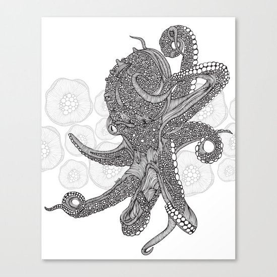 Octopus Bloom black and white Canvas Print