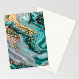 Turquoise And Gold Marble, Modern Marble Print, Luxury Geometric Art, Minimal Scandinavian Abstract Pattern Stationery Cards