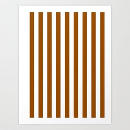 Narrow Vertical Stripes - White and Brown Art Print