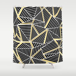 Ab Lines 2 Gold Shower Curtain