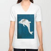 dolphin V-neck T-shirts featuring Dolphin by Renato Armignacco