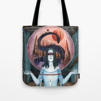 third eye Tote Bags featuring Third Eye by Michael Brack