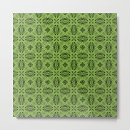 Greenery Diamond Floral Metal Print