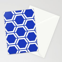 Persian blue - blue - Geometric Polygon Pattern Stationery Cards