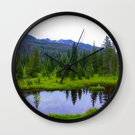 Colorado Forest Pond by Reay of Light Wall Clock