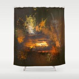 Exploding vibrant sunset Shower Curtain