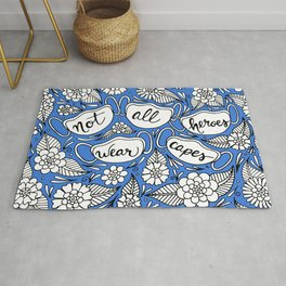 Not All Heroes Wear Capes Blue Palette Rug
