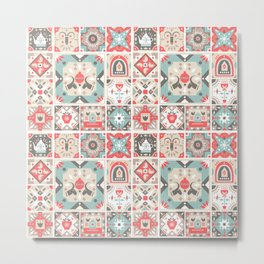 Abstract coral red ivory geometrical tribal mosaic pattern Metal Print