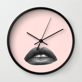 black and white lips on peach Wall Clock