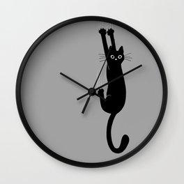 Black Cat Hanging On | Funny Cat Wall Clock