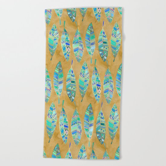 Jeweled Enamel Leaves on Tan Beach Towel